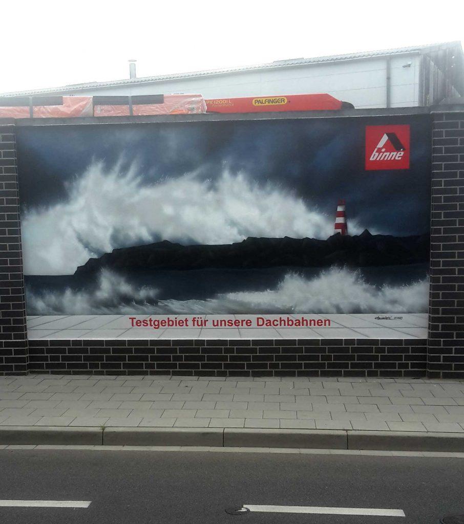 Graffiti mit Leuchturm und Bitumenbahnen von Binne