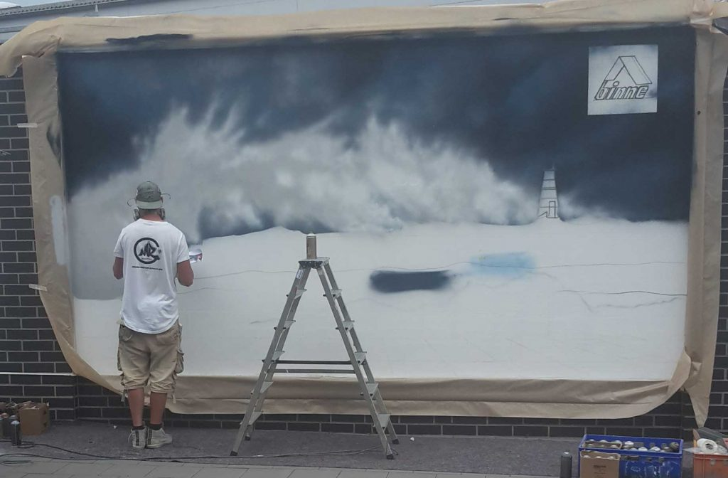 Entstehung Graffiti Bitumenbahnen Leuchtturm